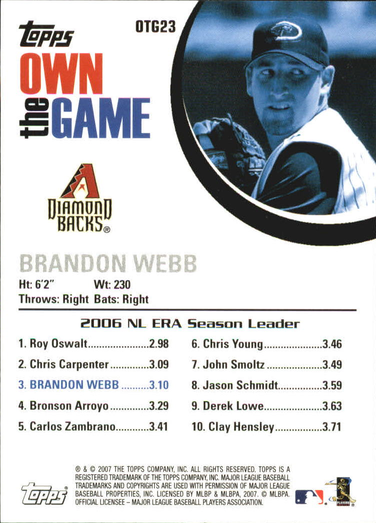 2007 Topps Own the Game #OTG23 Brandon Webb back image