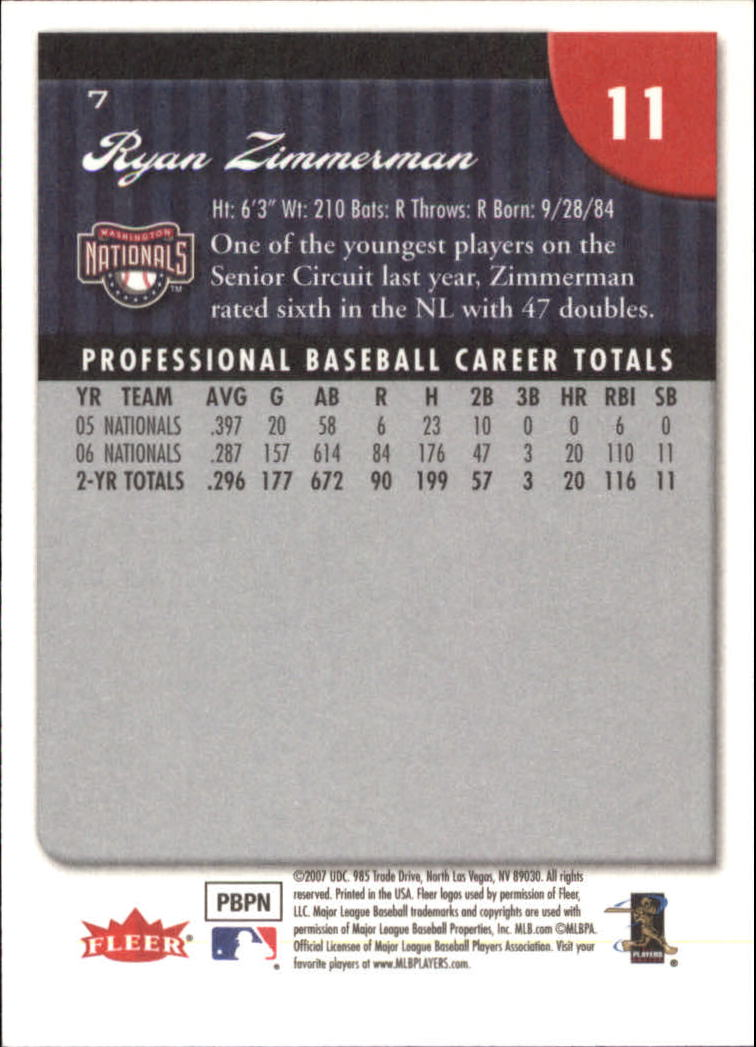 2007 Fleer #7 Ryan Zimmerman back image