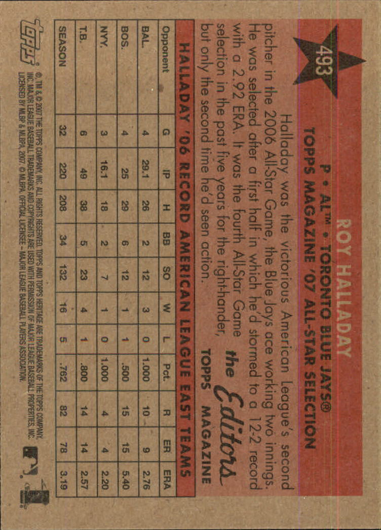 2007 Topps Heritage #493 Roy Halladay AS back image