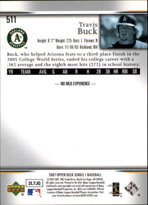 2007 Upper Deck #511 Travis Buck (RC) back image