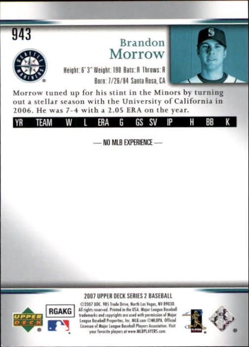2007 Upper Deck #943 Brandon Morrow RC back image