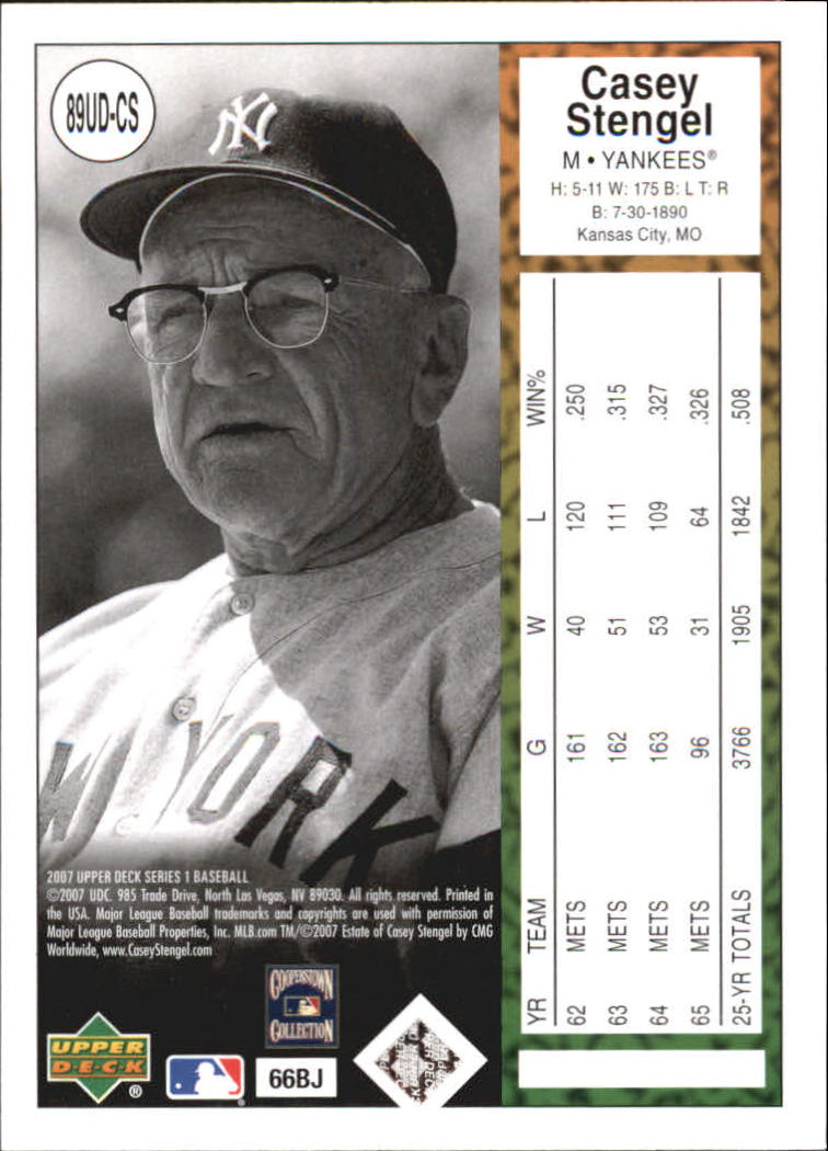 2007 Upper Deck 1989 Reprints #CS Casey Stengel back image