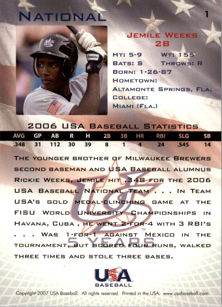 2006-07 USA Baseball #1 Jemile Weeks back image