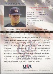 2006-07 USA Baseball #16 Tommy Hunter back image