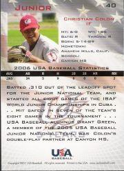2006-07 USA Baseball #40 Christian Colon back image