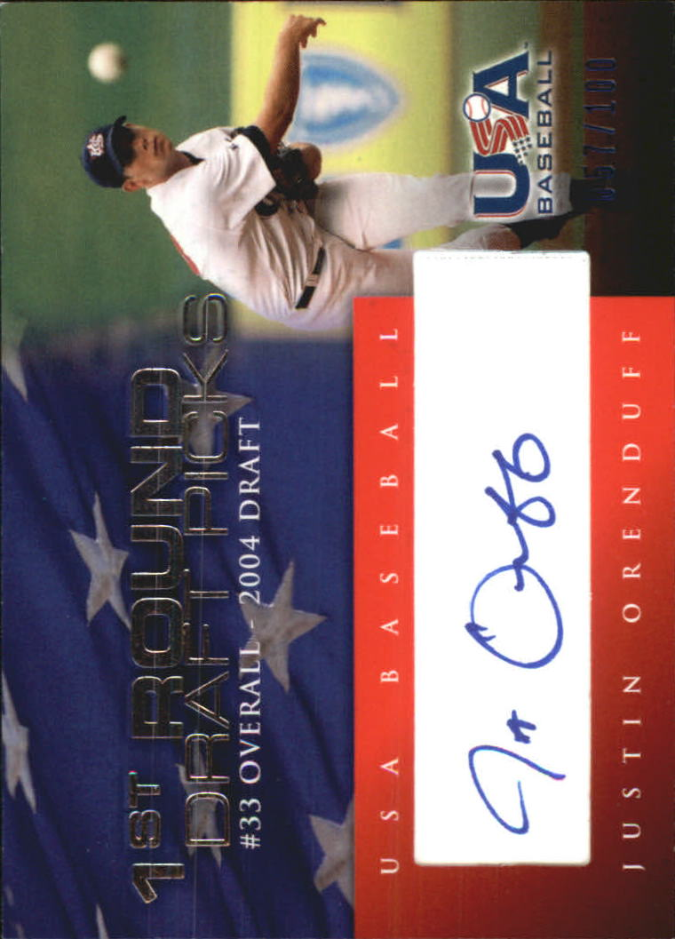 2006-07 USA Baseball 1st Round Draft Pick Signatures Blue #15 Justin Orenduff/100