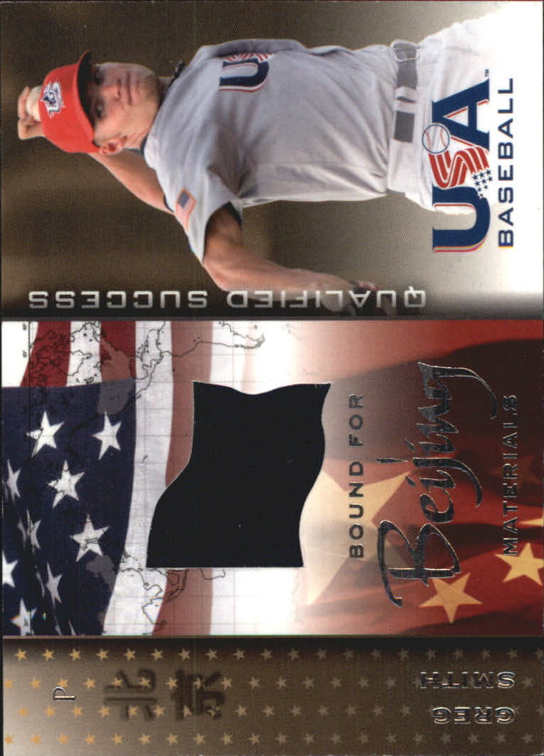 2006-07 USA Baseball Bound for Beijing Materials #4 Greg Smith Jsy