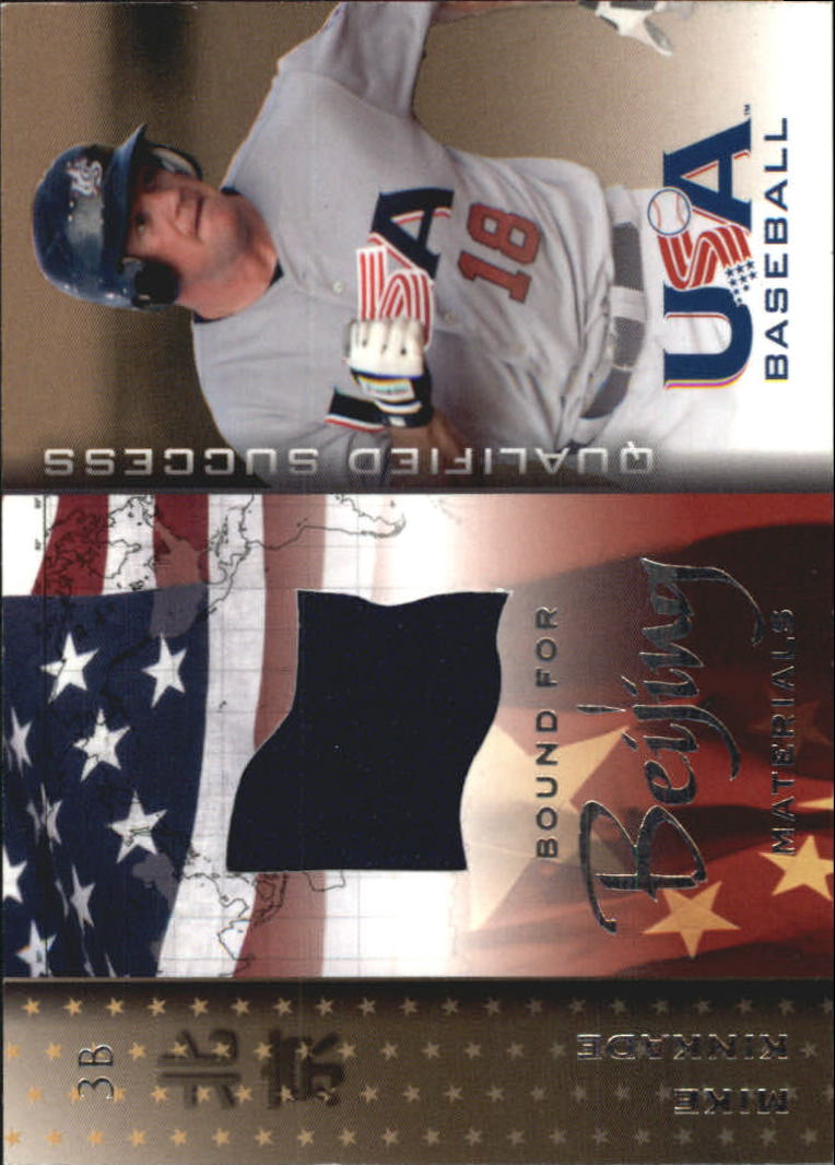 2006-07 USA Baseball Bound for Beijing Materials #13 Mike  Kinkade Hat SP