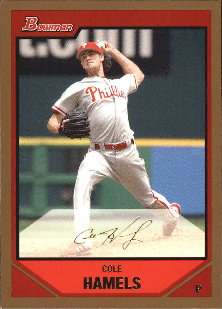 2007 Bowman Gold #15 Cole Hamels UER (Utley pictured on back)