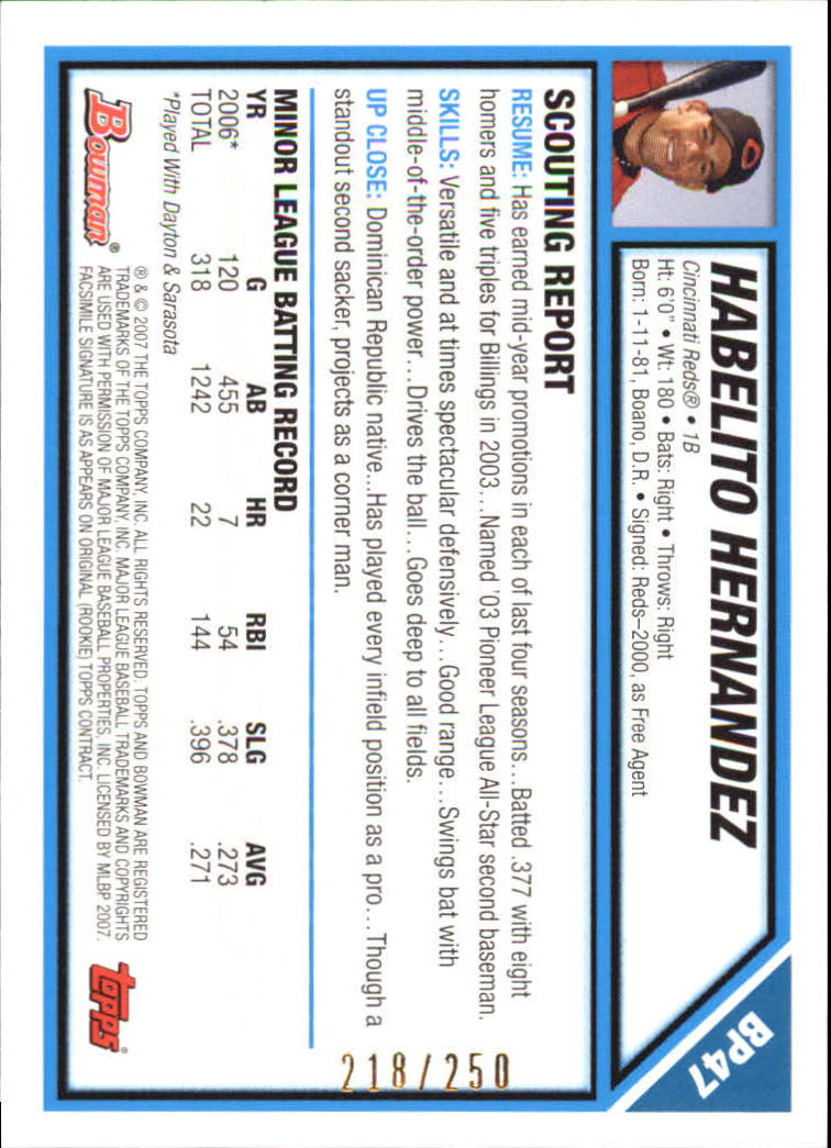 2007 Bowman Prospects Orange #BP47 Habelito Hernandez