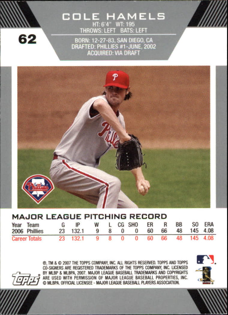 2007 Topps Co-Signers #62 Cole Hamels back image