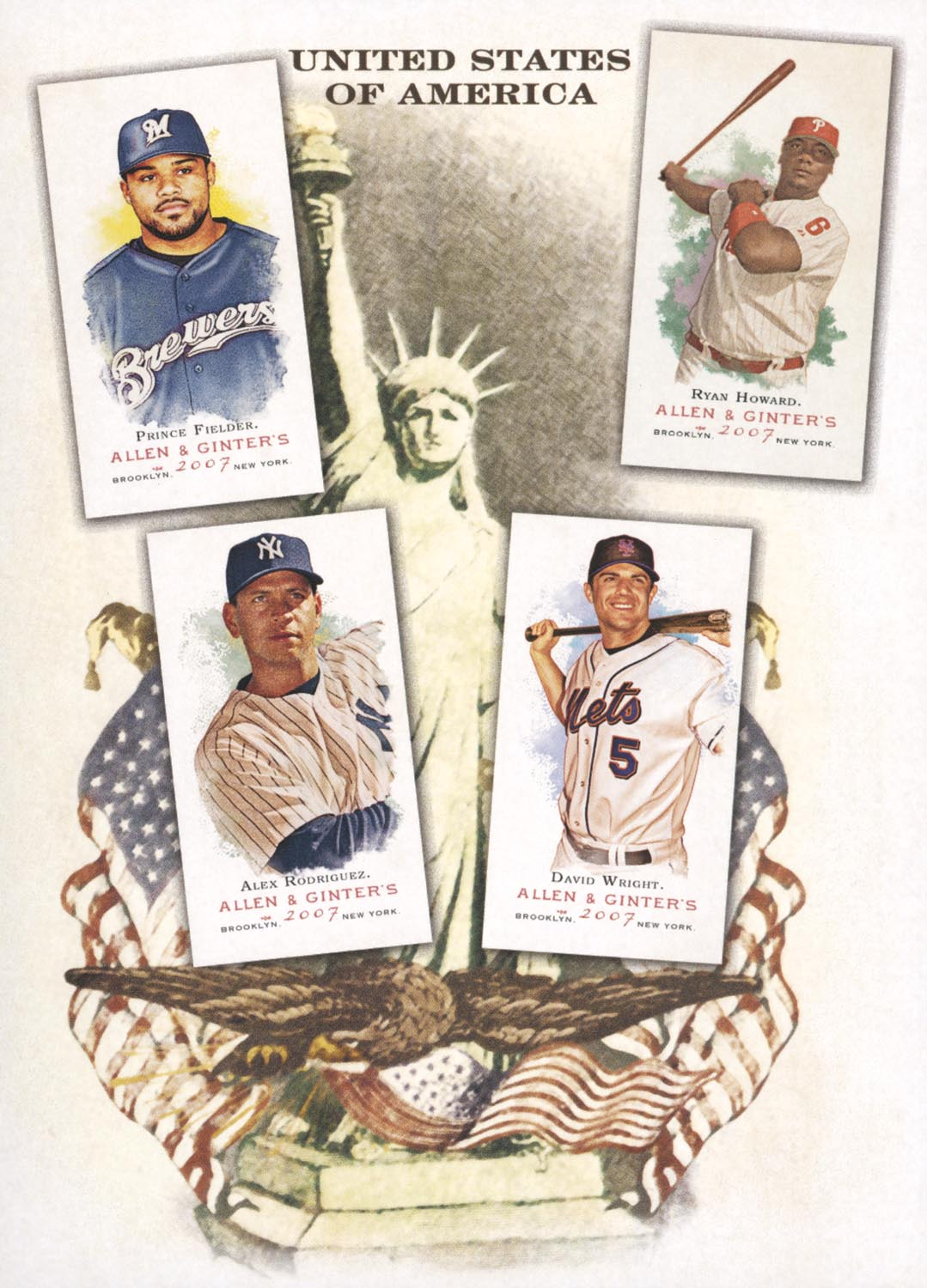 2007 Topps Allen and Ginter National Pride #9 Prince Fielder/Alex Rodriguez/Ryan Howard/David Wright