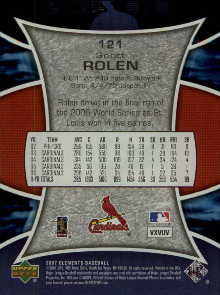 2007 Upper Deck Elements #121 Scott Rolen back image