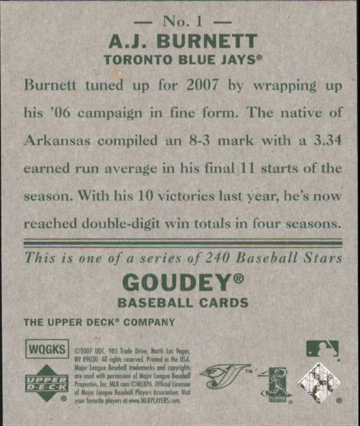 2007 Upper Deck Goudey #1 A.J. Burnett back image