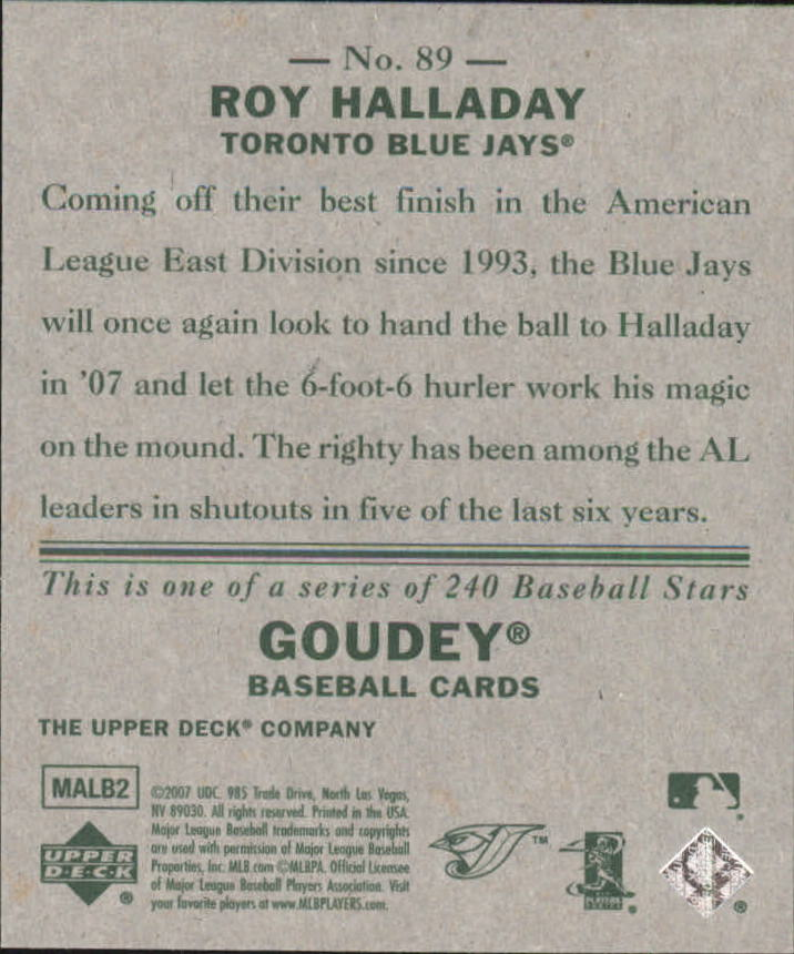 2007 Upper Deck Goudey #89 Roy Halladay back image