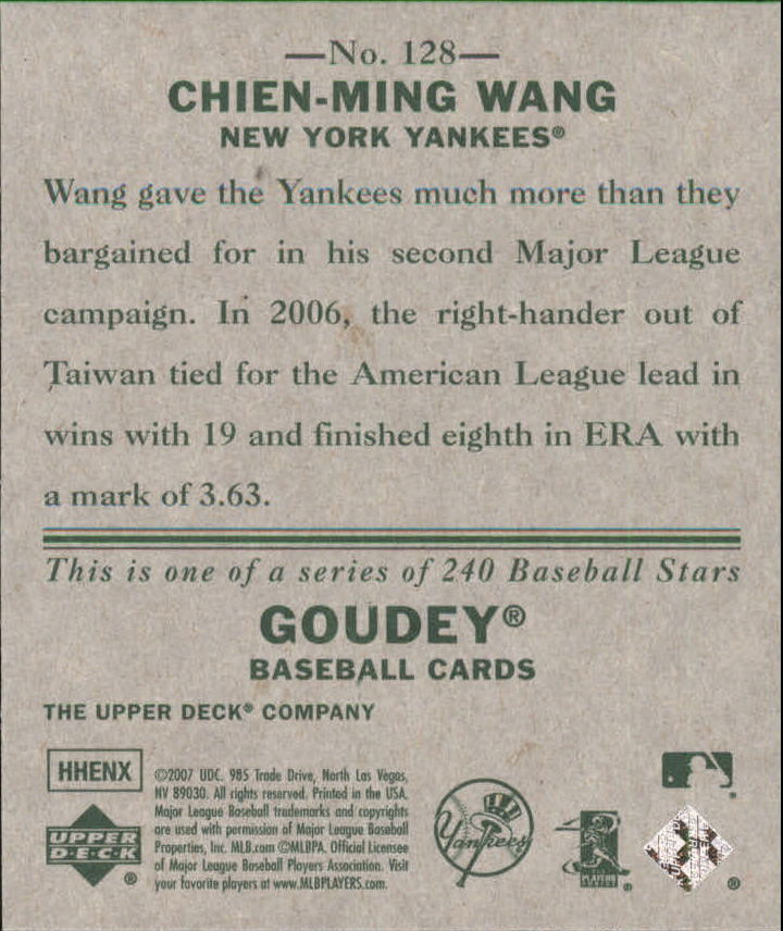 2007 Upper Deck Goudey #128 Chien-Ming Wang back image