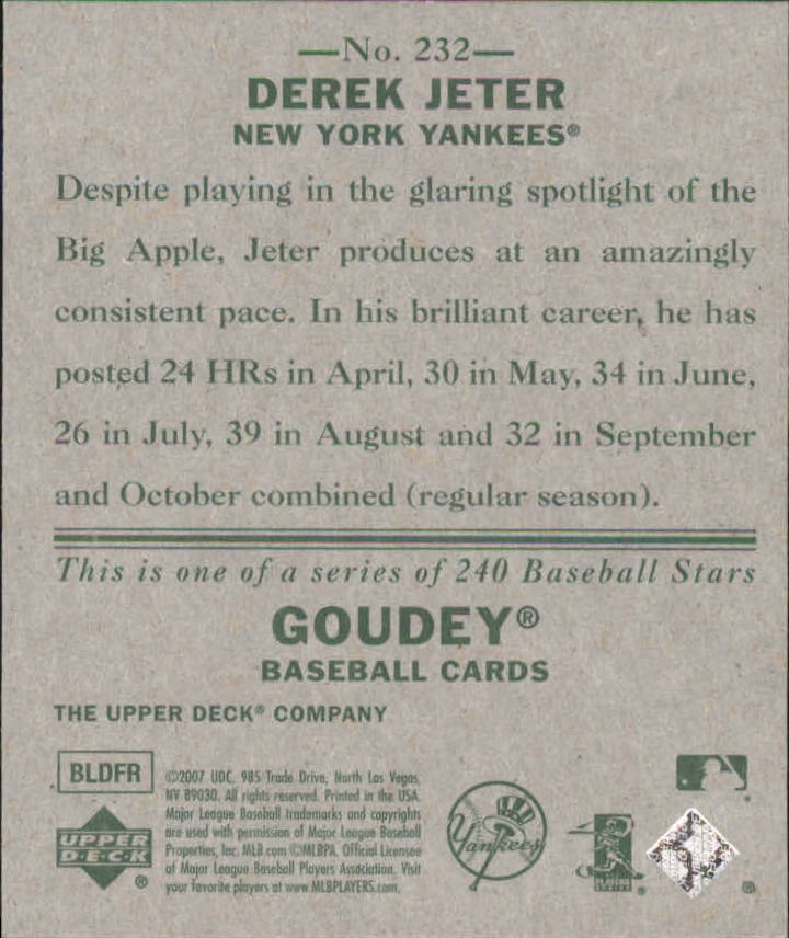 2007 Upper Deck Goudey #232 Derek Jeter SP back image