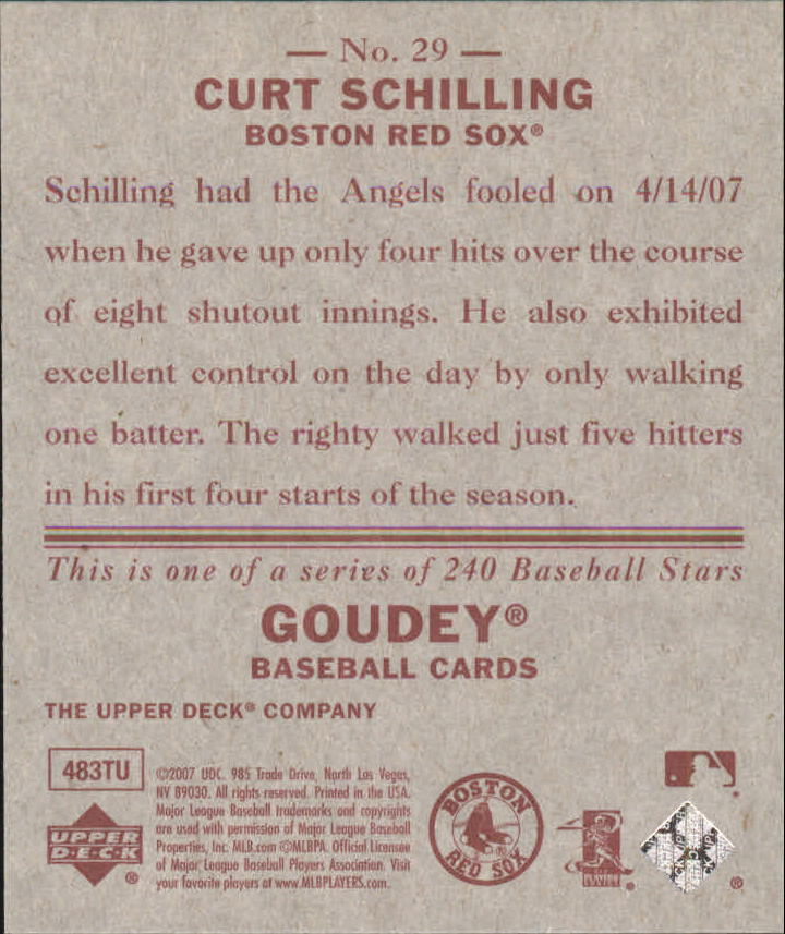 2007 Upper Deck Goudey Red Backs #29 Curt Schilling back image