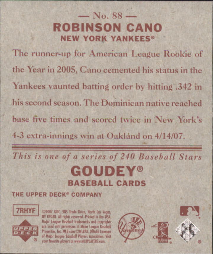 2007 Upper Deck Goudey Red Backs #88 Robinson Cano back image
