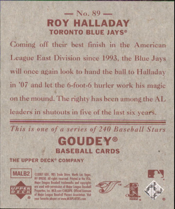 2007 Upper Deck Goudey Red Backs #89 Roy Halladay back image