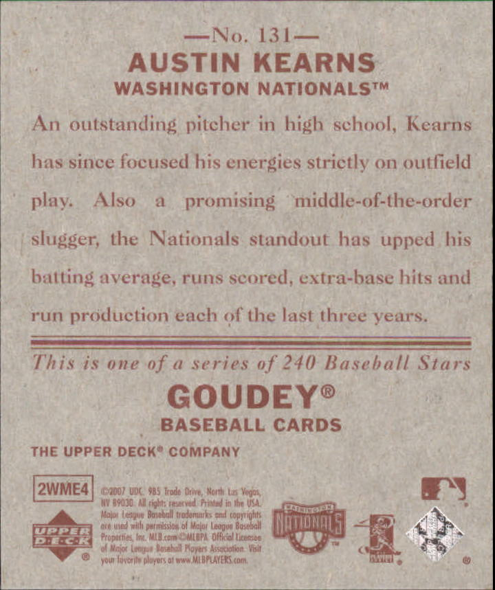2007 Upper Deck Goudey Red Backs #131 Austin Kearns back image