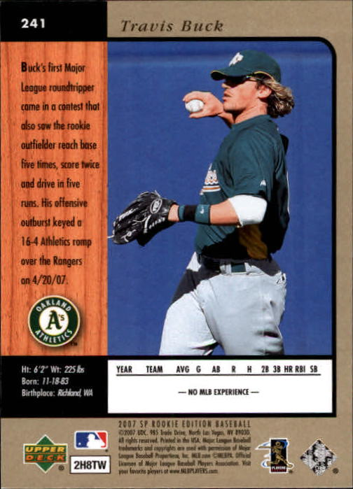 2007 SP Rookie Edition #241 Travis Buck 96 back image