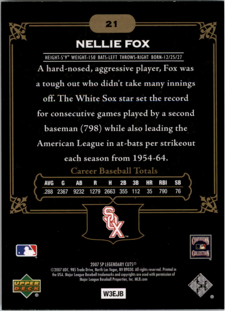 2007 SP Legendary Cuts #21 Nellie Fox back image
