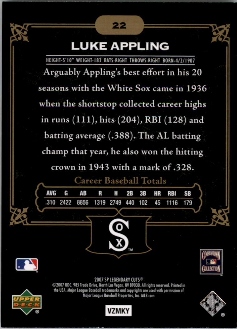 2007 SP Legendary Cuts #22 Luke Appling back image