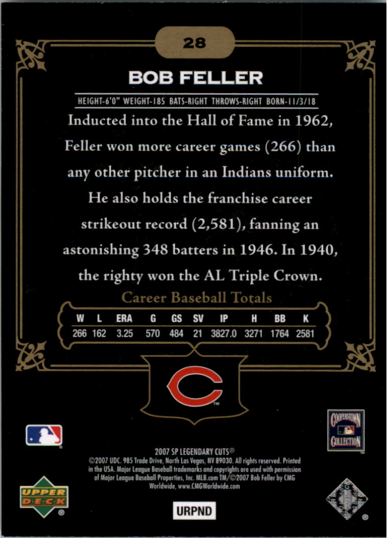 2007 SP Legendary Cuts #28 Bob Feller back image