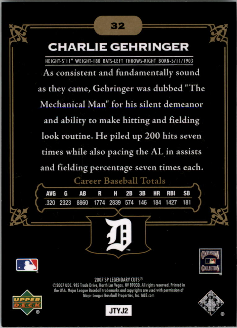 2007 SP Legendary Cuts #32 Charlie Gehringer back image