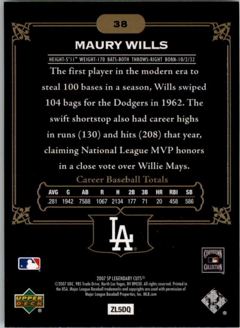 2007 SP Legendary Cuts #38 Maury Wills back image