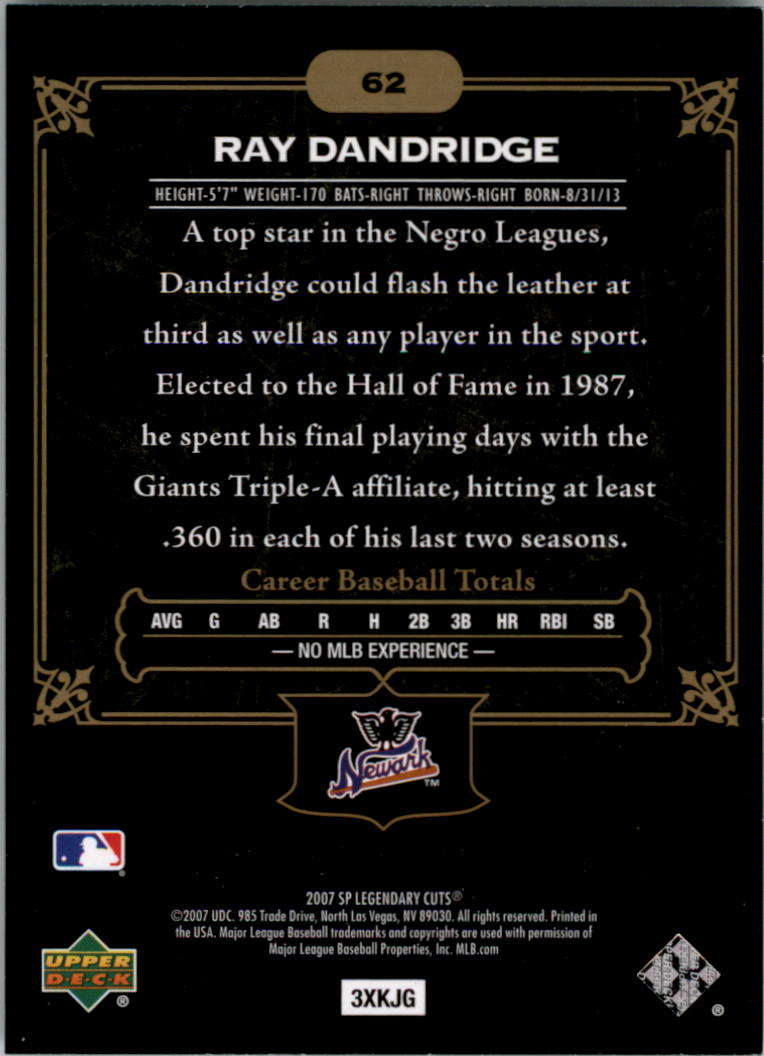 2007 SP Legendary Cuts #62 Ray Dandridge