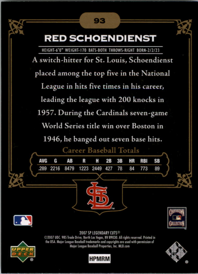 2007 SP Legendary Cuts #93 Red Schoendienst back image