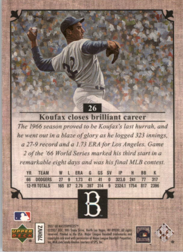 2007 UD Masterpieces #26 Sandy Koufax back image