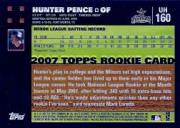 2007 Topps Update #160 Hunter Pence (RC) back image