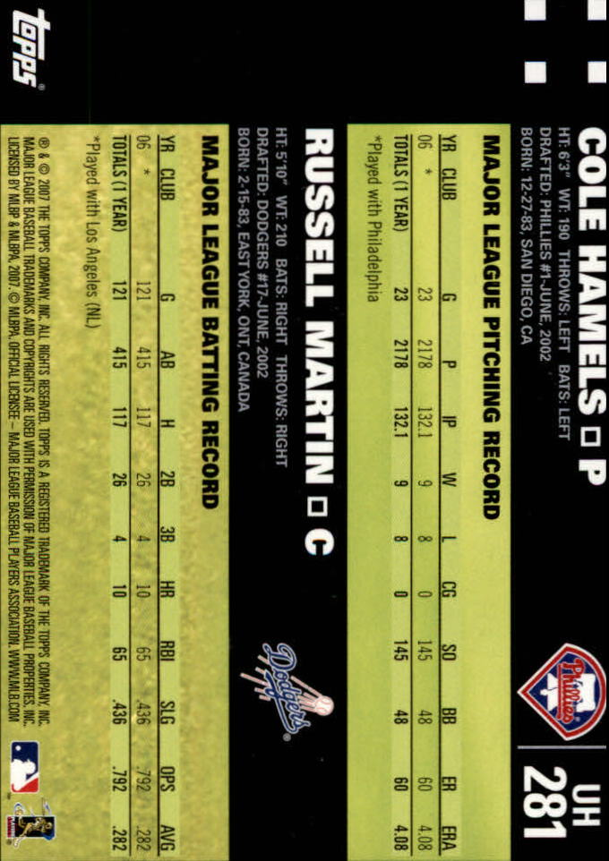 2007 Topps Update #281 Cole Hamels/Russell Martin back image