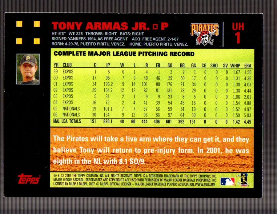 2007 Topps Update Red Back #1 Tony Armas Jr. back image
