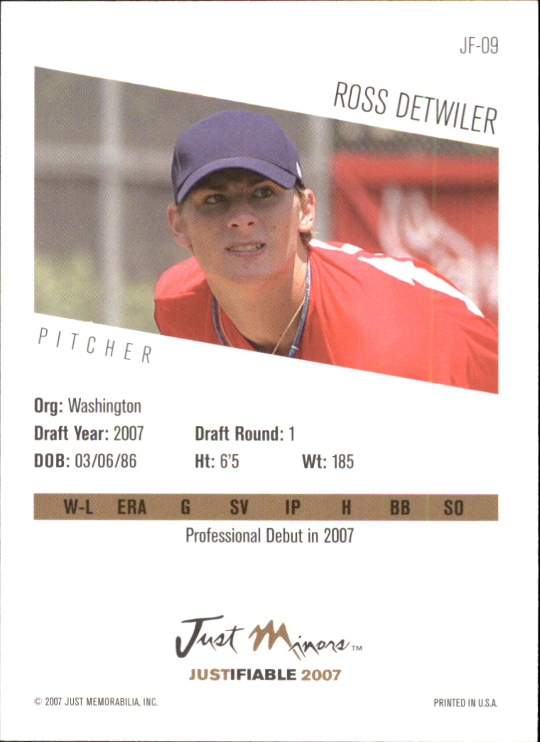 2007 Justifiable #9 Ross Detwiler back image