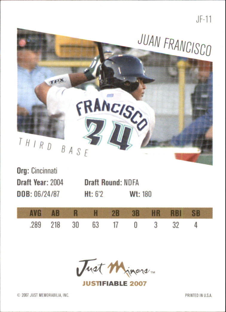 2007 Justifiable #11 Juan Francisco back image