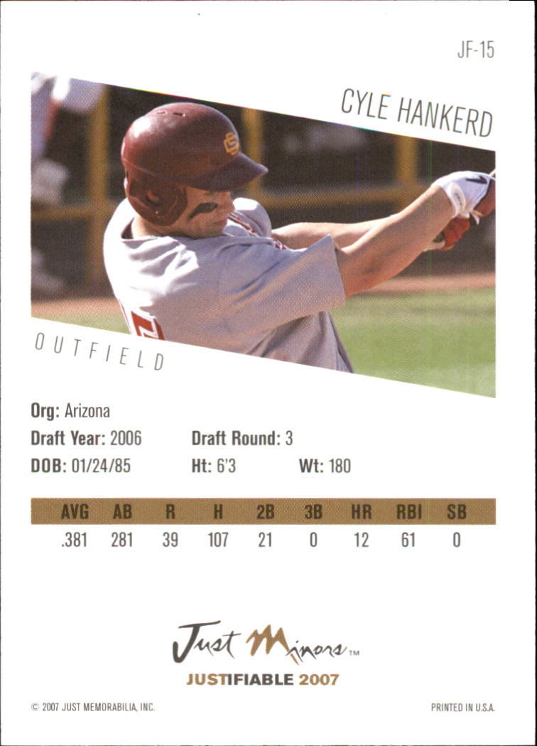 2007 Justifiable #15 Cyle Hankerd back image