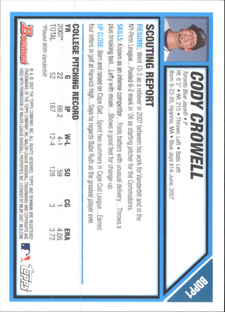 2007 Bowman Chrome Draft Draft Picks #BDPP1 Cody Crowell back image