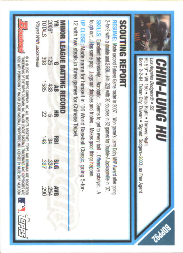 2007 Bowman Draft Future's Game Prospects Gold #BDPP92 Chin-Lung Hu back image
