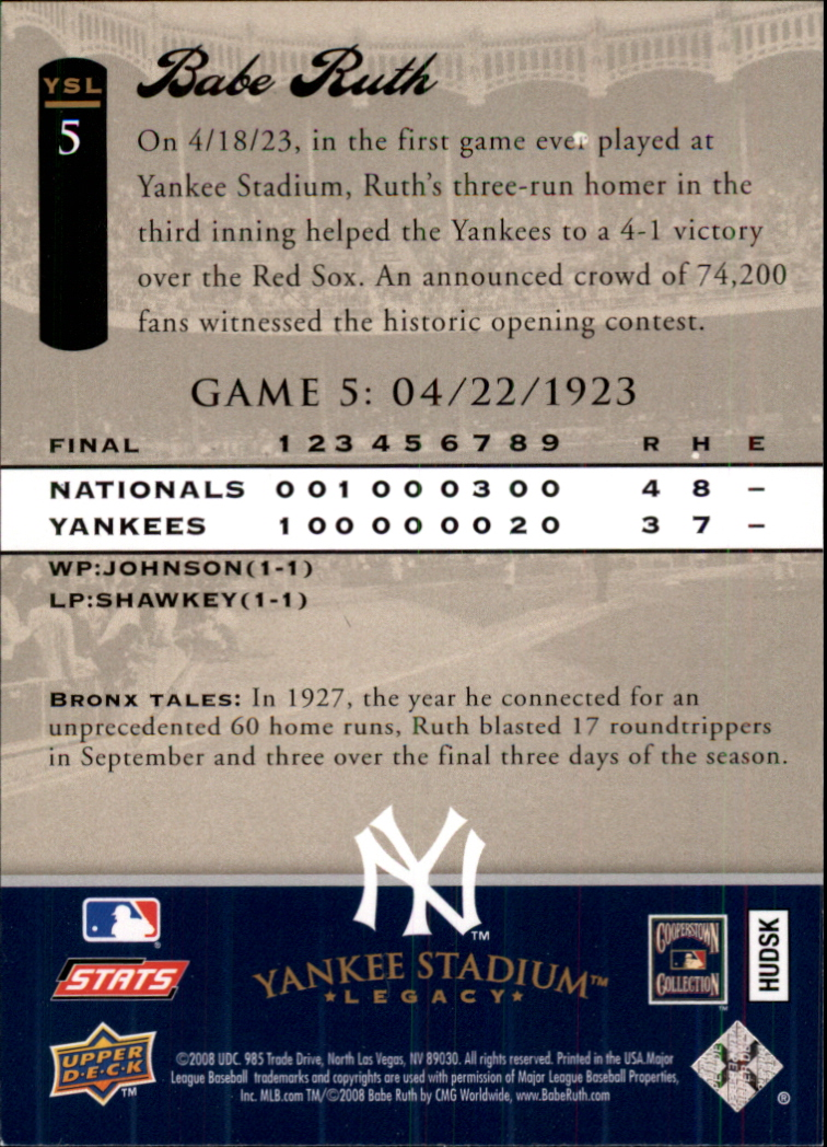 2008 Upper Deck Yankee Stadium Legacy Collection #5 Babe Ruth back image
