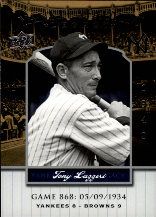2008 Upper Deck Yankee Stadium Legacy Collection #868 Tony Lazzeri