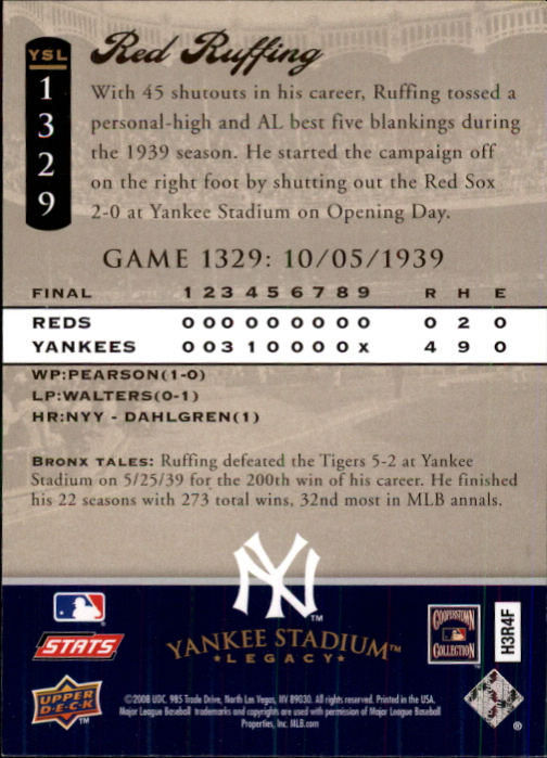 2008 Upper Deck Yankee Stadium Legacy Collection #1329 Red Ruffing back image