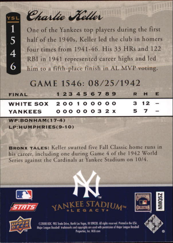 2008 Upper Deck Yankee Stadium Legacy Collection #1546 Charlie Keller back image