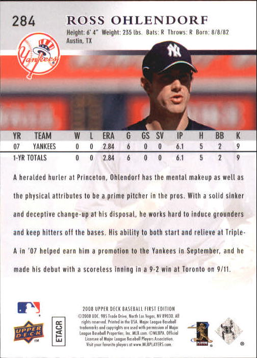 2008 Upper Deck First Edition #284 Ross Ohlendorf RC back image
