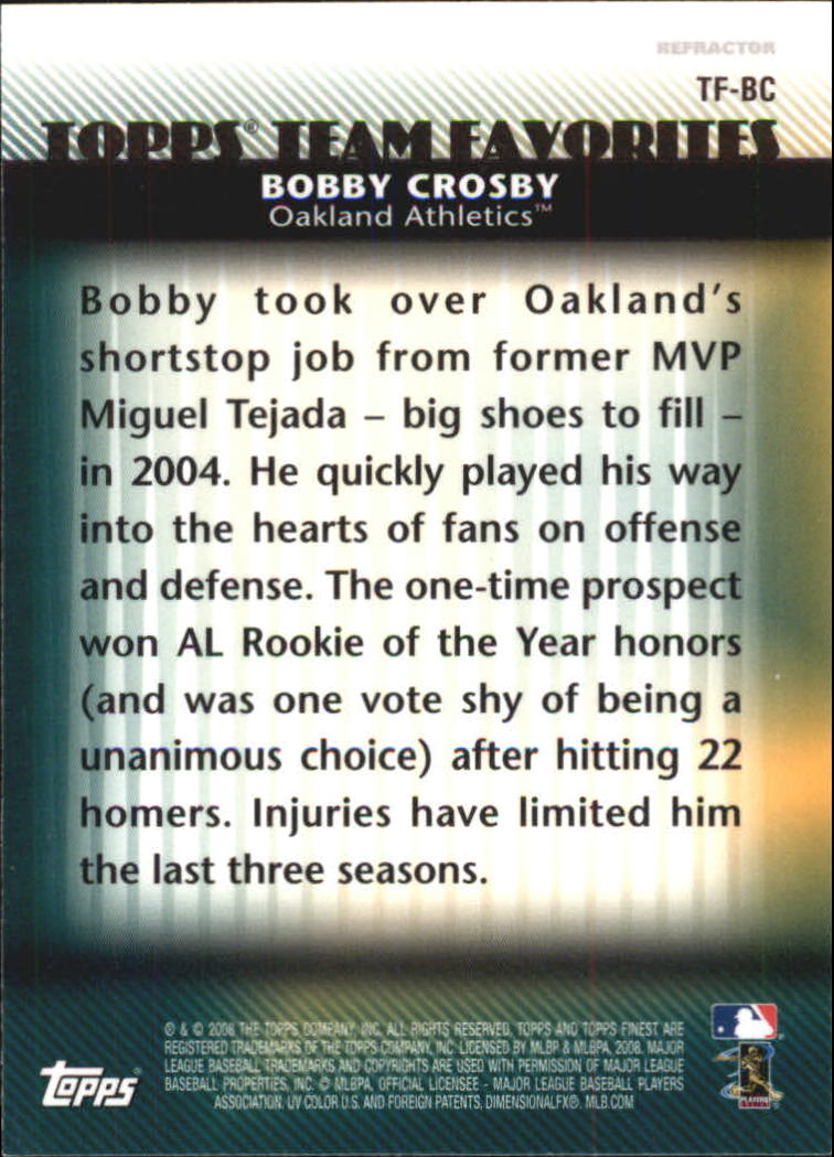2008 Finest Topps Team Favorites Autographs #BC Bobby Crosby back image
