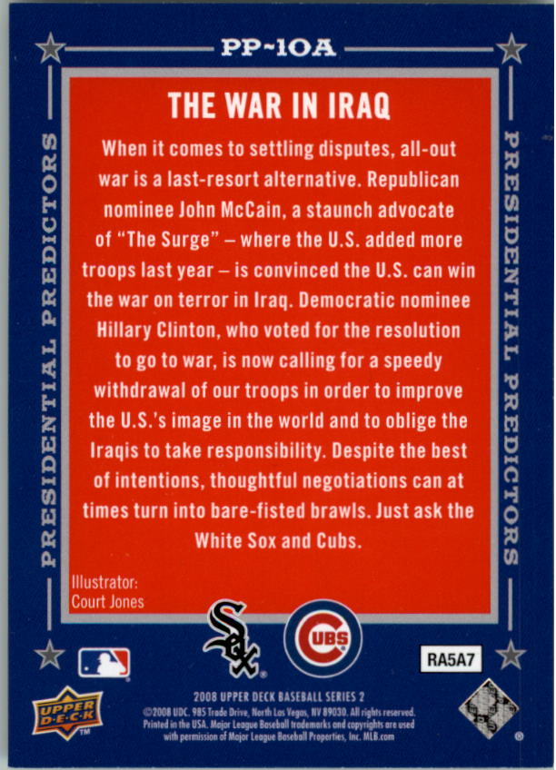 2008 Upper Deck Presidential Running Mate Predictors #PP10A John McCain/Hillary Clinton back image