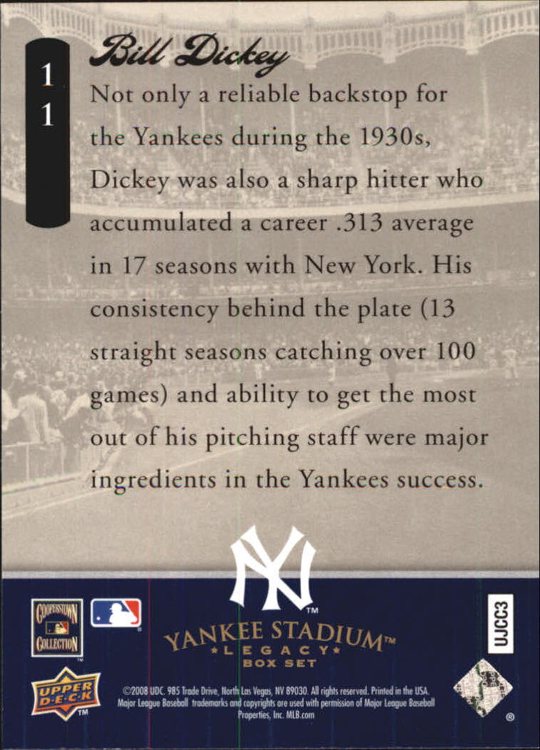 2008 Upper Deck Yankee Stadium Legacy Collection Box Set #11 Bill Dickey